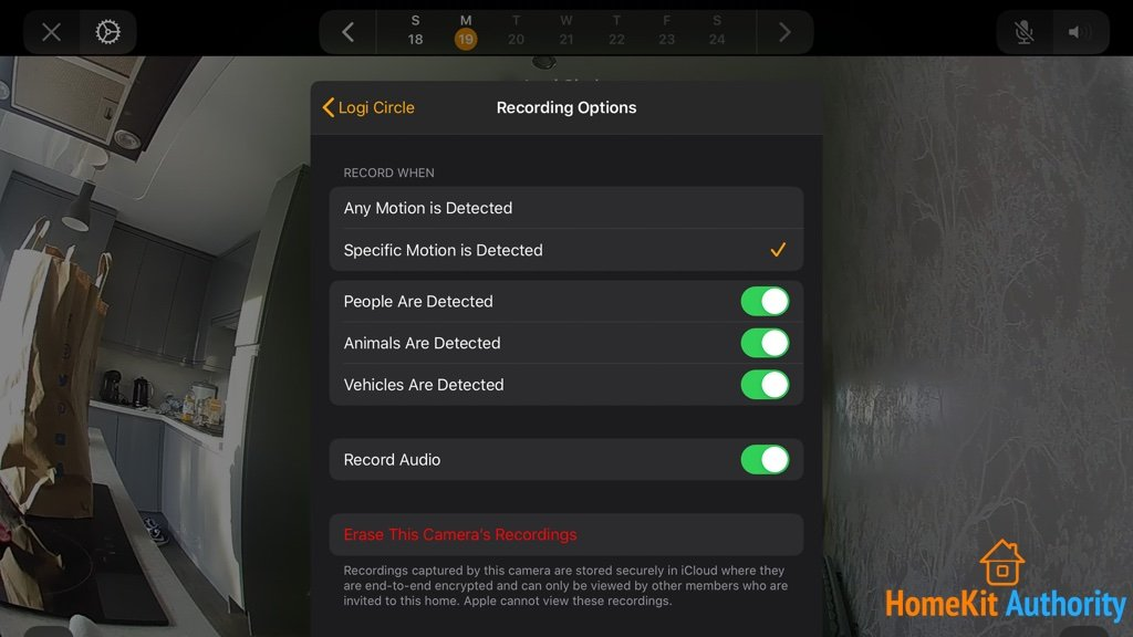 circle 2 HomeKit Secure Video settings