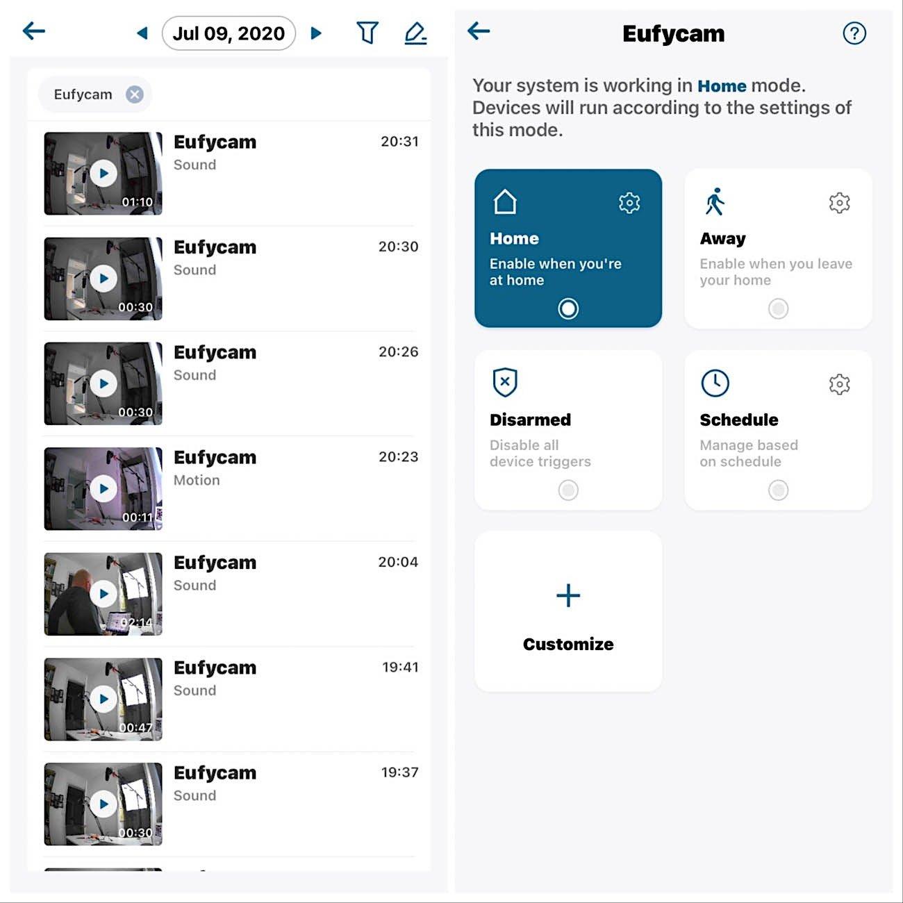 eufy app settings