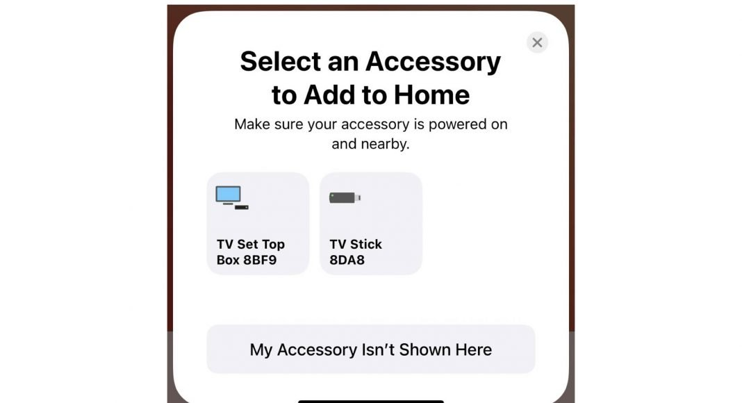 Apple HomeKit icons streaming stick and set top box in iOS 14
